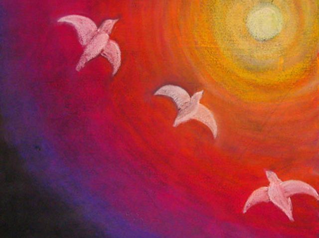 Waldorf School child chalk drawing of gulls flying in rainbow colored sky towards the sun