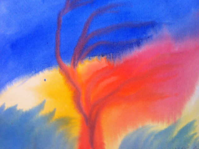 Waldorf School student watercolor of tree blowing in blue, yellow, red wind